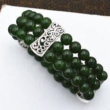 New Women's Natural 8mm Dark emerald Beads Stretch Tibetan silver Bracelet 3 row