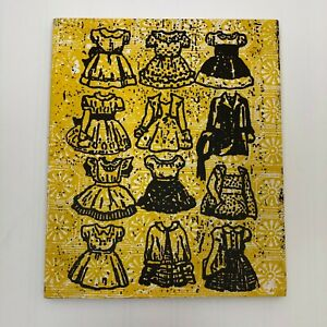 Dolan Geiman 2009 Signed Mixed Media Screenprinted Wood Board Vintage Dresses