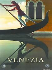 Venezia Venice Italy Gondolier Vintage Travel Advertisement Art Poster Print