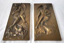 Pr. 1971 Relief Plaque Angels/Demons Heaven/Hell by Domenico Mazzone w/Cherubs