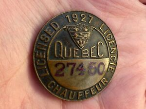 Old 1927 Quebec, Canada registered driver CHAUFFEUR BADGE pin #27450 FREE SHIP!