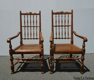 Pair Henredon Vintage French Country Oak Cane Accent Chairs w Spindle Backrests