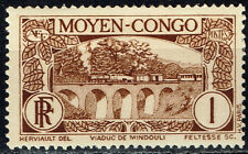 French Congo Colonial African Railroad Bridge Train stamps 1948 MLH