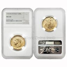 Italy 1931R IX VITTORIO EMANUELE III 100 Lire Gold NGC MS60