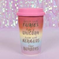 Fairies Unicorn Mermaid Ceramic Travel Cup Tea Coffee Mug Insulated Rainbow Pink