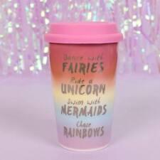 Le fate Unicorno Sirena in Ceramica Viaggio Tazze Di Tè Tazza Da Caffè isolati ARCOBALENO Rosa