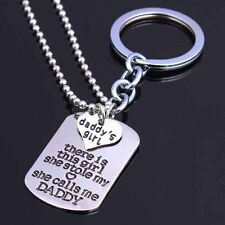 Set Daddy's Girl Father Daughter Gift New 2Pcs Keyring Keychain Pendant Necklace