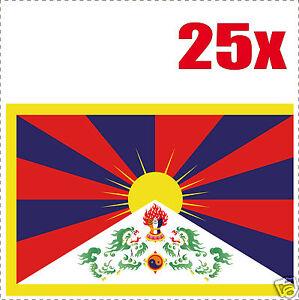 Tibet drapeau 25 stickers autocollants en vinyl et mélange de tailles