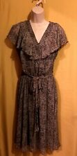 MSK women's 3 pc ruffle dress slip belt brown black animal print 8 $118