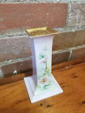 OEG Royal Austria Porcelain Hat Pin Holder whiteFLORAL Gold Stouffer handpainted