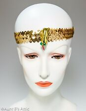 Egyptian Headband Gold Stretch Sequin Band With Gold Snake Costume Accessory