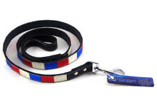 "Mirage Leather Dog Leash 3/4""W x 48""L Red White & Blue Brand New Free Shipping"