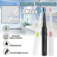 3 Mode Sonic Wave Electric Toothbrush USB Fast Charge Waterproof + 4 Brush