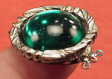 Vintage 27mm Necklace Clasp Connector 3 Str Emerald Cabachon High Art Deco