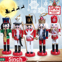 5PCS Wooden Nutcracker Soldier Handcraft Walnut Puppet Toy Christmas Decor Gift