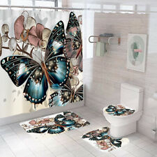 Butterfly Bathroom Rugs Shower Curtain Thick Non Slip Toilet Lid Cover Bath Mat
