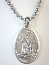 """St Francis of Assisi w/ Wolf Medal Necklace 24"""" Ball Chain Gift Box Prayer Card"""