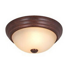 "Royal Bronze And Creme Cognac Glass 15"" Flush Mount Ceiling Light"