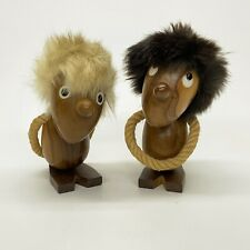 2 Mid Century Modern Wood Figurines Optimist Pessimist Viking Trolls V Spain