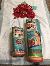 Vintage Lot of AMERICAN PLASTIC BRICKS by Elgo No. 705 & 715 Tins + Bricks!