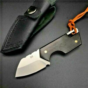 Mini Wharncliffe Knife Fixed Blade Hunting Combat Tactical D2 Steel Wood Handle