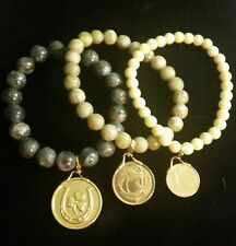 3) With Gold Tone Charms *Beautiful* Connemara Marble Jewelry Bracelets (Set of
