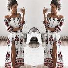 Mujer Maxi de verano Boho Floral Playa Vestido Largo Vacaciones Fiesta Noche