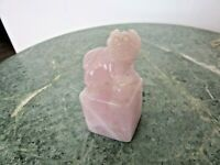 """GENUINE CHINESE FOO DOG  PINK ROSE HAND CARVED QUARTZ  2 1/4"""" TALL"""