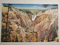 Carl Tolpo Yellowstone Grand Canyon Artist Point Afternoon c.1951 Lithograph NOS