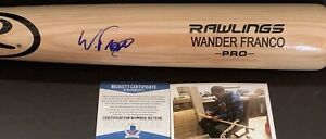 Wander Franco Tampa Bay Rays Signed Engraved Blonde Bat BECKETT ROOKIE COA 1