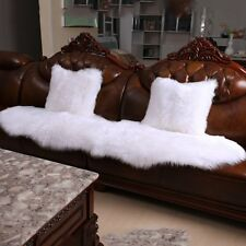 2pcs Faux sheepskin Fur Square White  Pillowcase Cushion 45X45cm fabric back AU