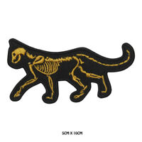 Skeleton Cat Halloween Cat Embroidered Patch Iron on /Sew On Badge