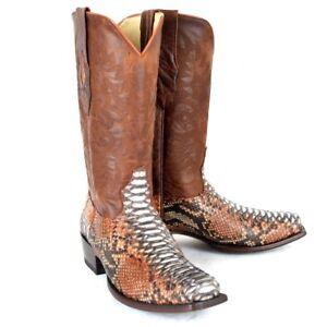 LOS ALTOS MEN COGNAC GENUINE PYTHON SNAKE COWBOY 7 SQUARE TOE BOOT 585788 (D)