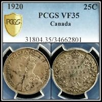 1920 Silver Canada 25 Cents PCGS VF35 Very Fine Quarter Dollar 25c Classic Coin