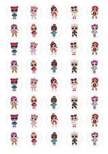 40 LOL Dolls 3cm round cupcake edible images