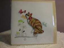 Quilling Cards LLC - 3D Calico Cat and Flowers Note Card