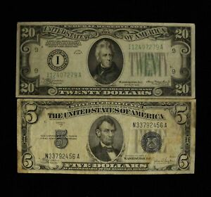 1934-C $5 Silver Certificate & 1934 $20 Federal Reserve Notes - Free Ship US
