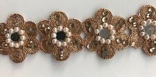 ATTRACTIVE ETHNIC INDIAN ROSEGOLD FLORAL CRYSTALS PEARLS MIRRORS LACE/TRIM-1 MTR