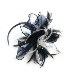 Chiffon & Feather Hair Fascinator Headband Wedding Royal Ascot Races Ladies