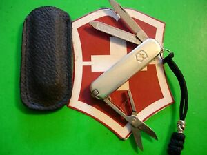 NTSA SWISS ARMY VICTORINOX TIFFANY 925 - 750 STERLING CLASSIC W/LEATHER SHEATH