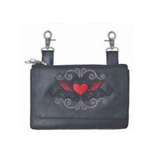 Genuine Leather Belt Bag - Hip Purse - Red Tribal Heart Biker / Motorcycle