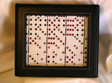 Double 6 Dominoes Studdeed With Genuine Swarovski Crystals Earthtone Leather Box
