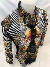 Mens PREMIERE Long Sleeve Button Down Dress Shirt BLACK GOLD TIGER CHAIN 506 NWT