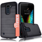 Metal Brushed Hybrid Dual Layers Case Cover w/ Card Pocket Slot For LG K10/LG K7