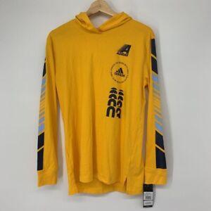 Adidas Boys Moto Graphic Hoodie Yellow Long Sleeve 100% Cotton L New