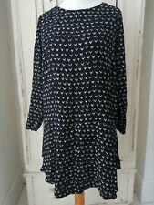 NEXT dress size 18 black white shift long sleeve drop waist