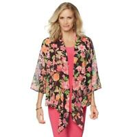 Slinky Brand 3/4 Sleeves Printed Chiffon Cardigan Multi-Color Large Size HSN