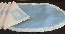 FOUR HAND EMBROIDERED & APPLIQUE VINTAGE ORGANZA PLACEMATS & NAPKINS - EXQUISIT