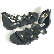 Steve Madden Sandal Gladiator Sandal Strappy Gold Accents - Black Sz 6.5 M GUC