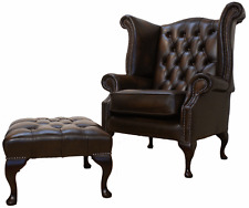 Chesterfield Queen Anne High Back Wing Chair Brown Leather + Footstool